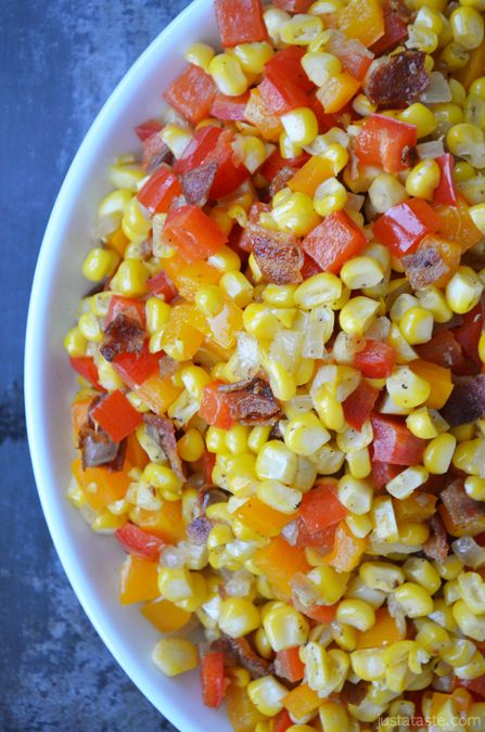 Confetti Corn with Bacon  ~ Sauté fresh corn, bright bell peppers, and onion in a bit of bacon fat and you have a seasonal side dish that looks just as great as it tastes.