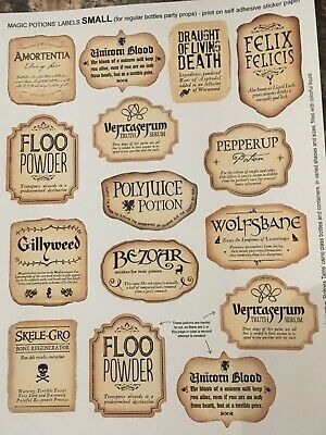 Details about HARRY INSPIRED POTION BOTTLE STICKERS SIZE MEDIUM & LARGE LABELS