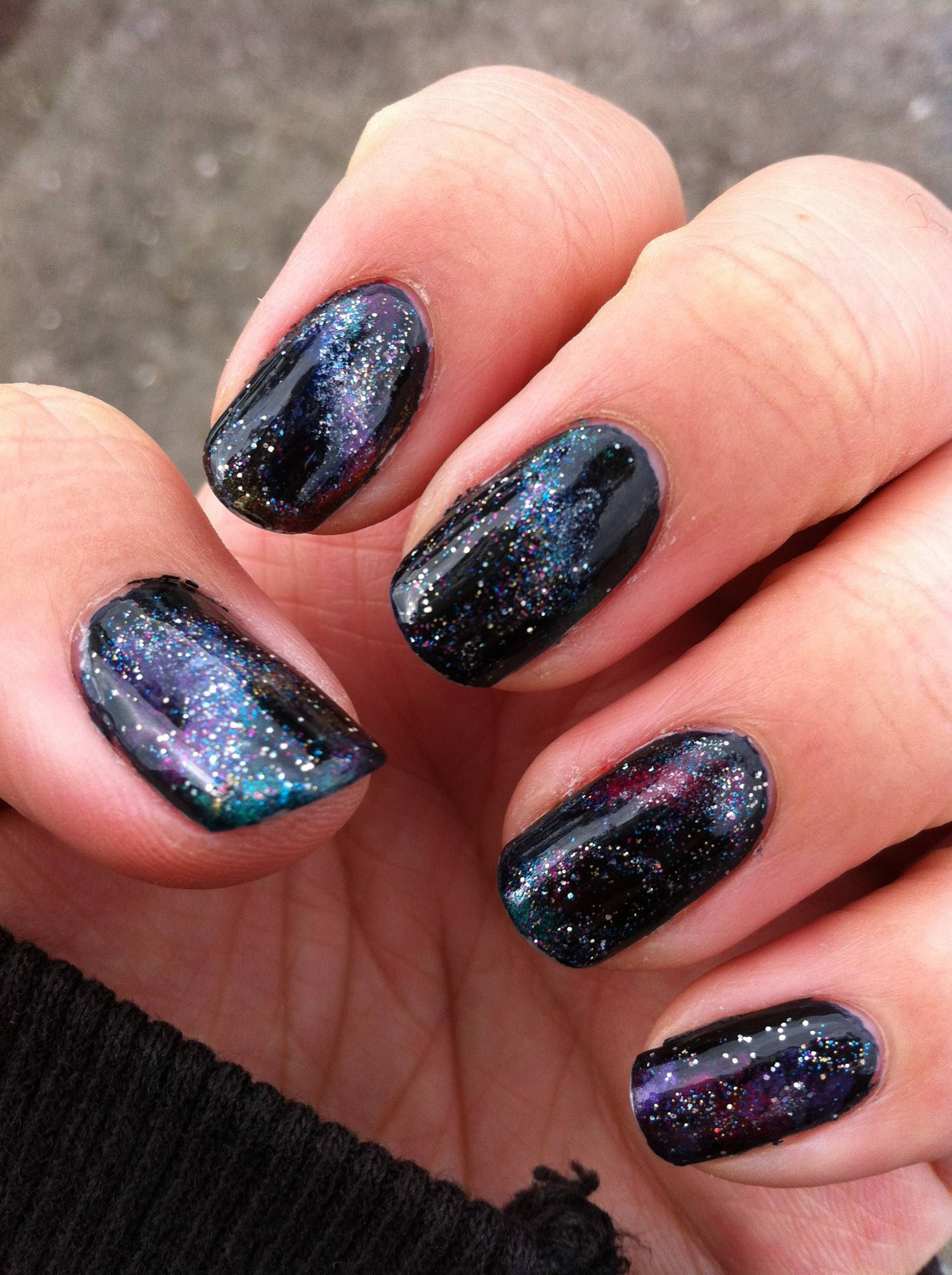 Decided to try galaxy nails on the night before my first uni exam ...