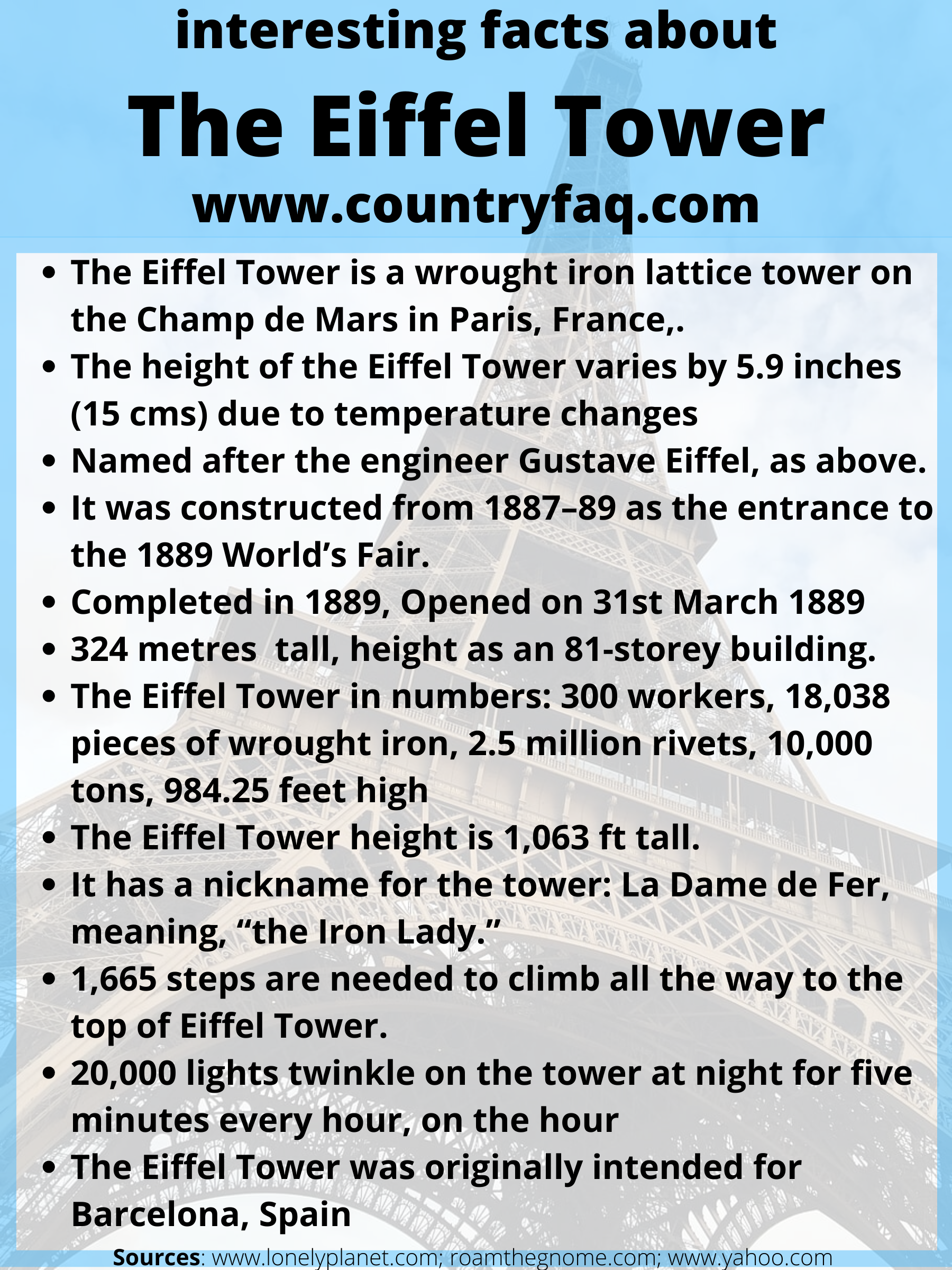 interesting facts about the eiffel tower Eiffel tower facts for kids Eiffel tower facts fun facts about the Eiffel tower Eiffel tower facts and history