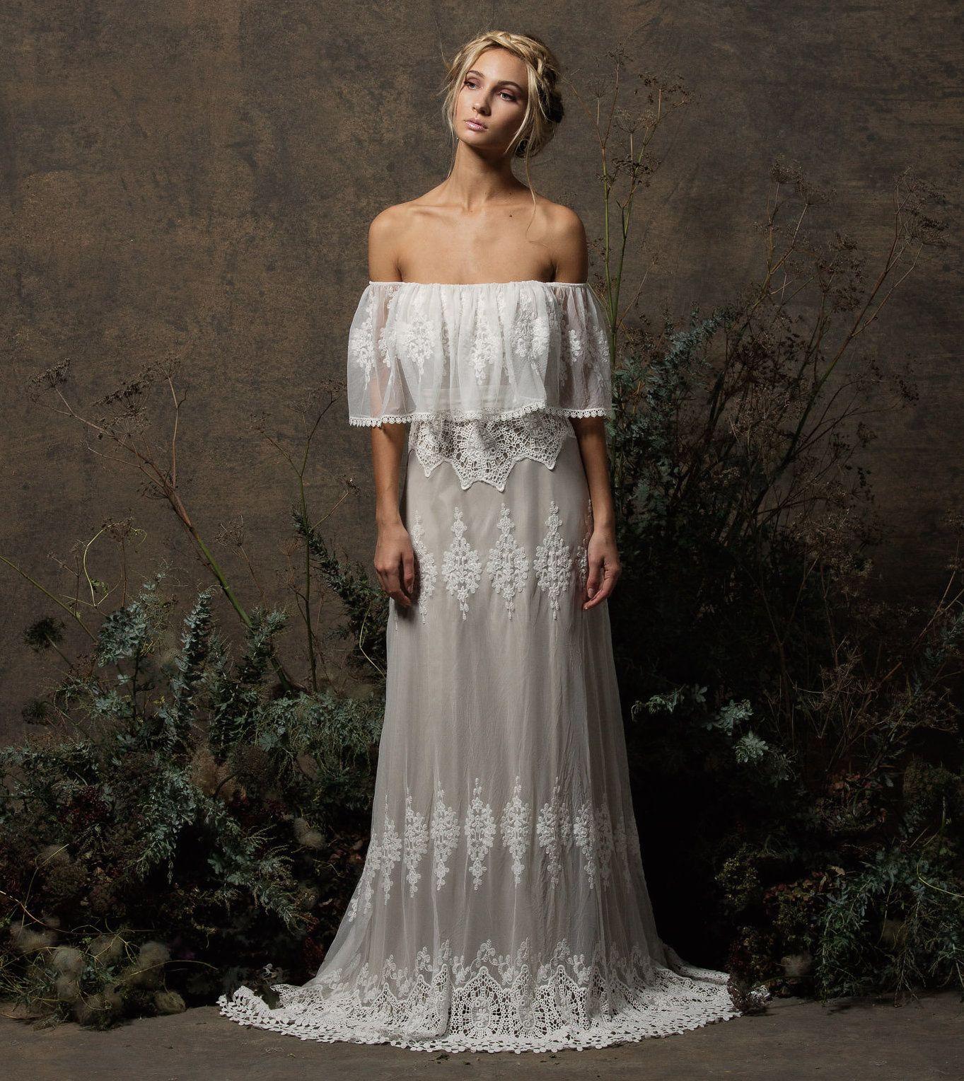 Juniper offshoulder lace dress bohemian lace wedding dress lace