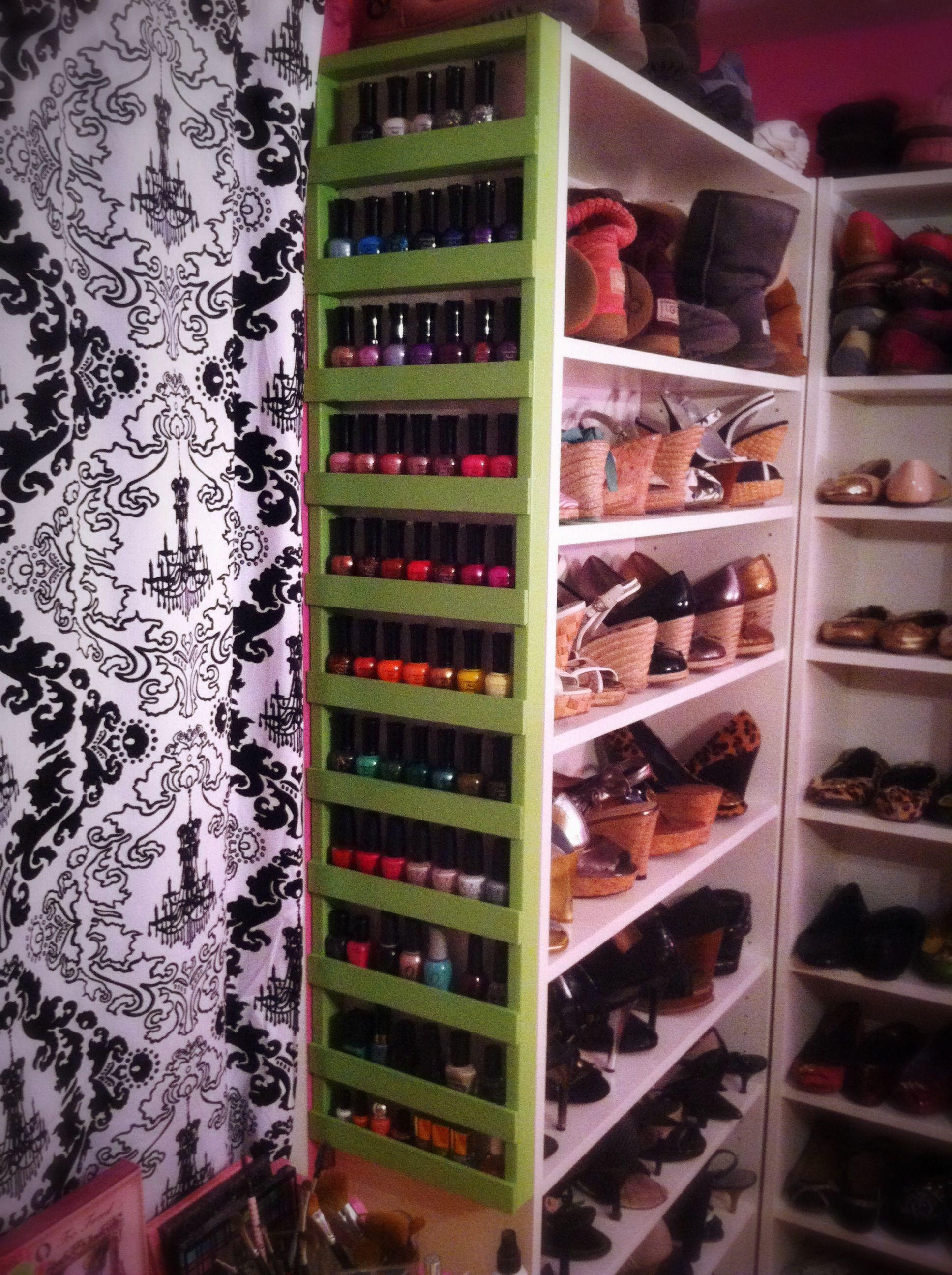 diy nail polish rack on shoe rack side