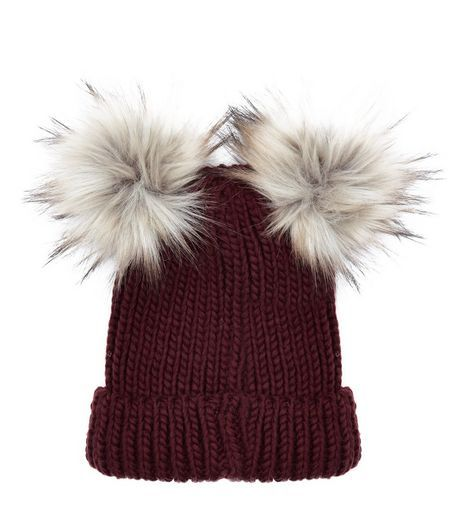81d91c29791 Burgundy Double Faux Fur Pom Pom Hat
