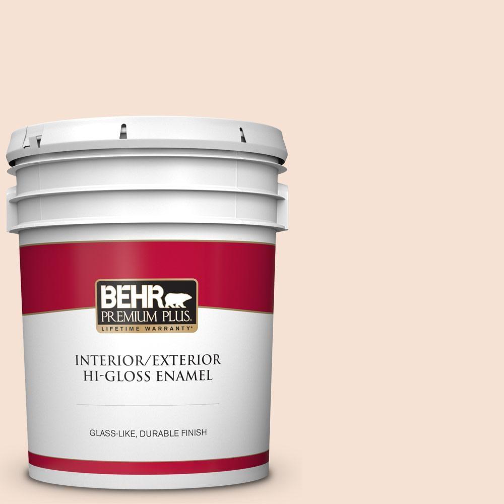 Behr Premium Plus 5 Gal Rd W13 Almond Kiss Hi Gloss Enamel Interior Exterior Paint Interior Paint Behr Exterior Paint