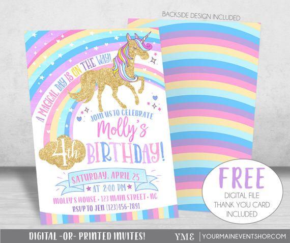 Invitar de unicornio cumpleaños invitación u2022 arco iris u2022 unicornio mágico arco iris invitación