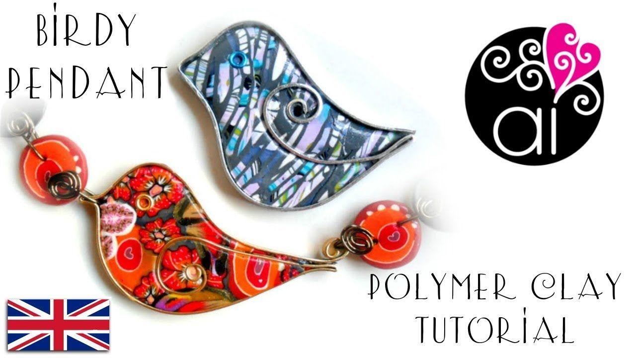 Birdy Pendant | Tutorial Polymer Clay & Flat Wire | Polymer Clay ...