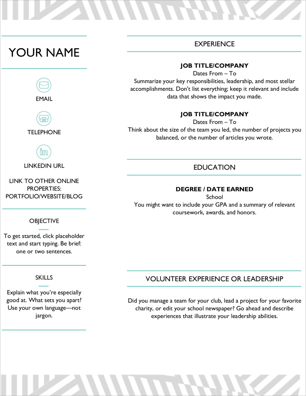 2020 Resume Templates Word Free Download