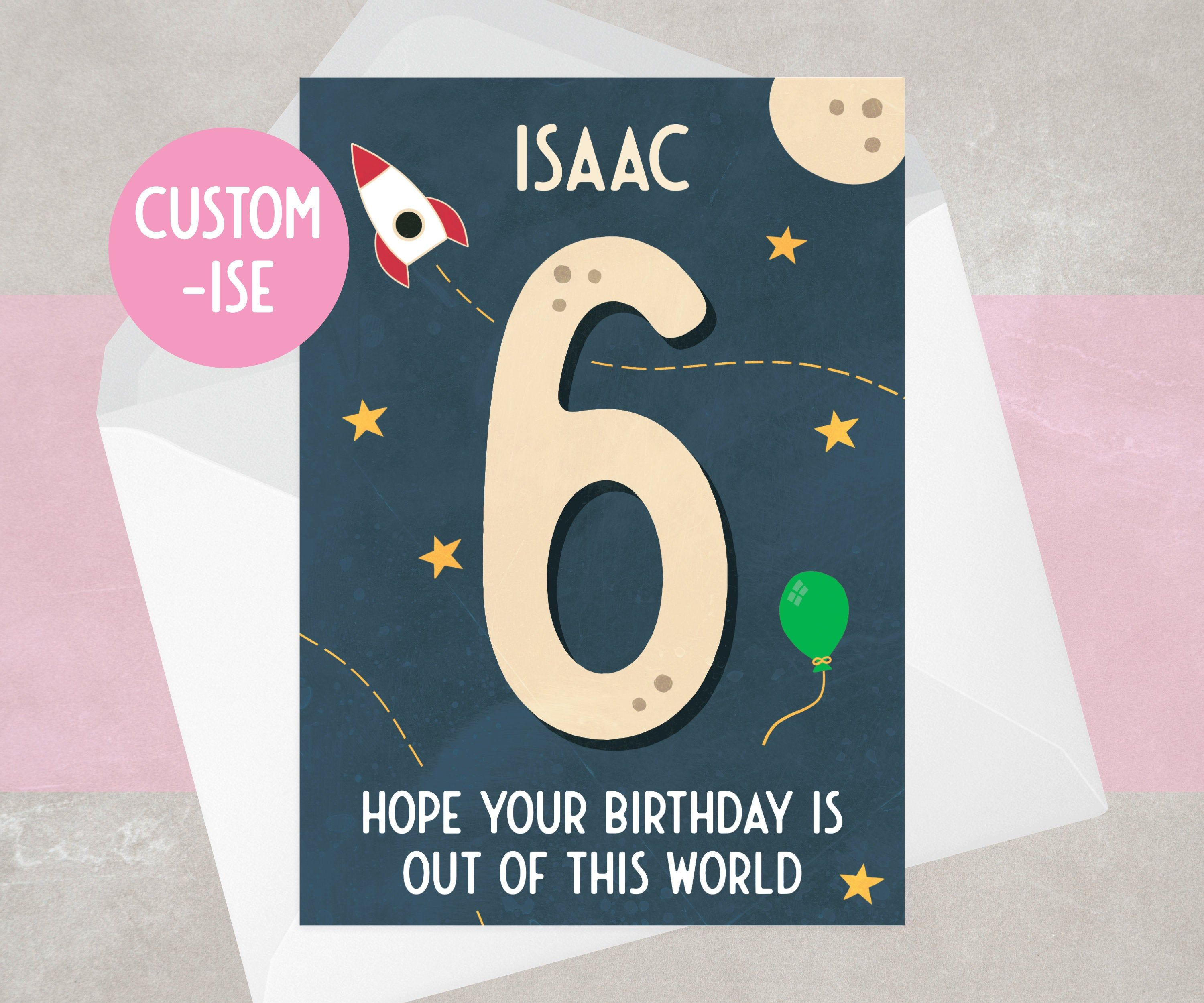 6th Birthday Card Personalised Space Theme For Boy For Etsy First Birthday Cards Birthday Cards Personal Cards