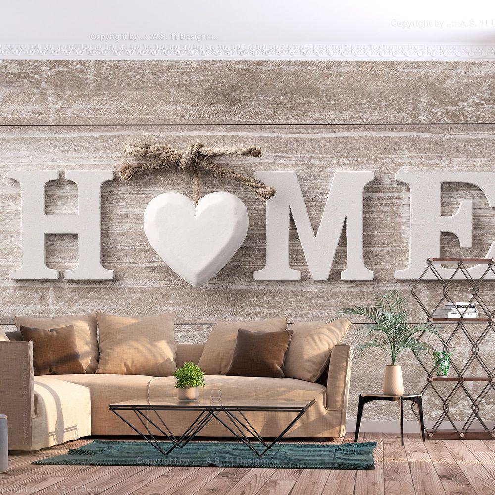 Details zu Vlies Fototapete Schlafzimmer Home Holz Optik Herz Scandi ...