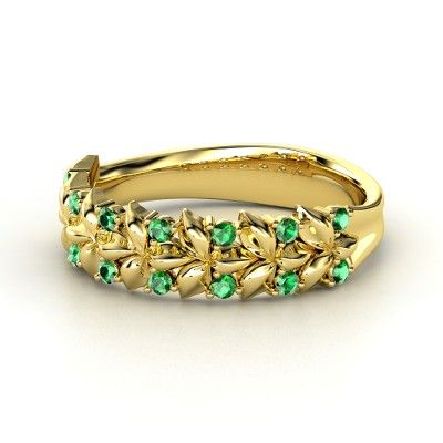 Emerald gold engagement rings