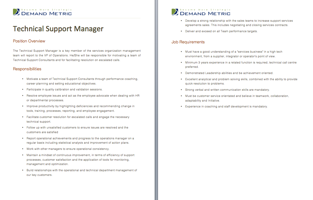 Technical Support Manager Job Description - A template to quickly ...