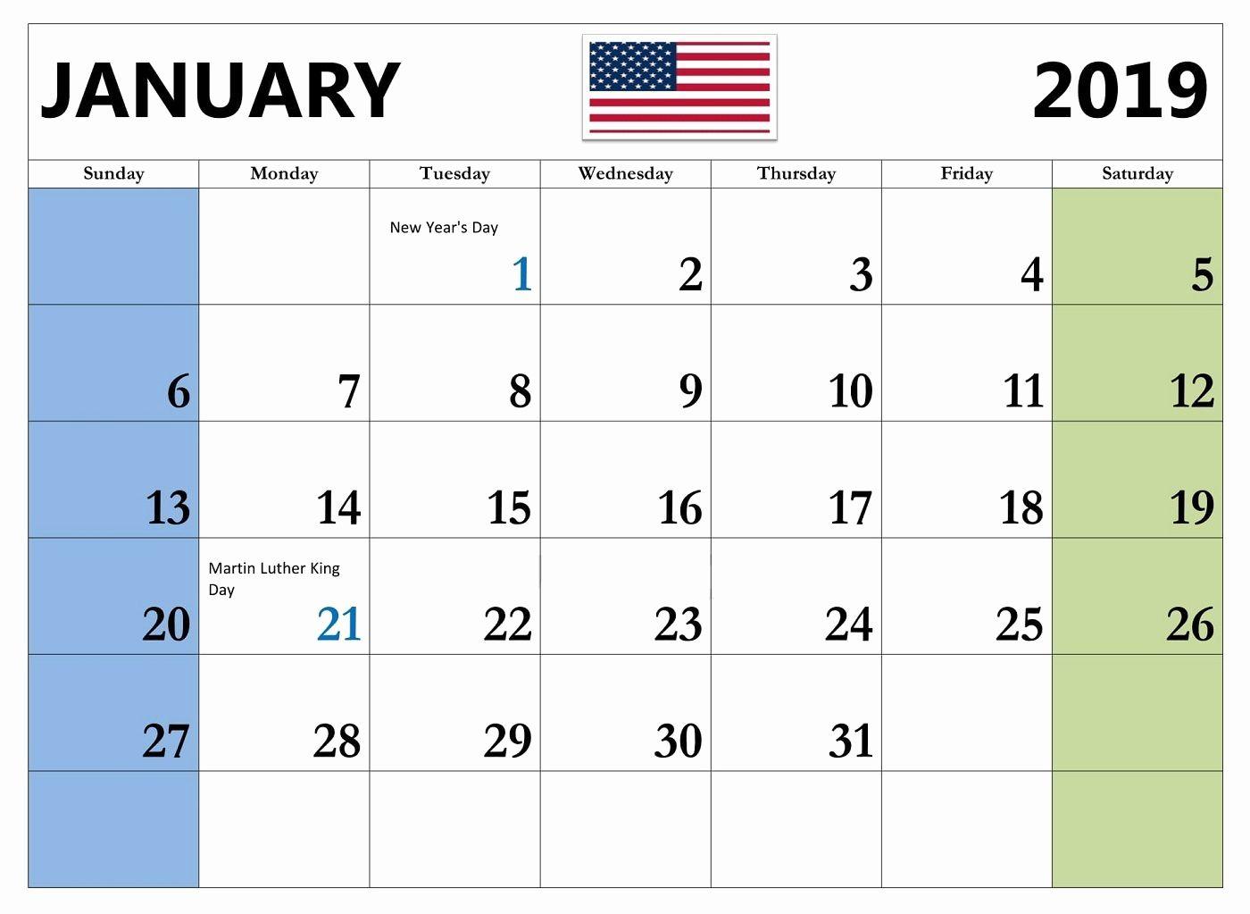 Janurary 2019 Calendar With Holidays United States Usa Printable