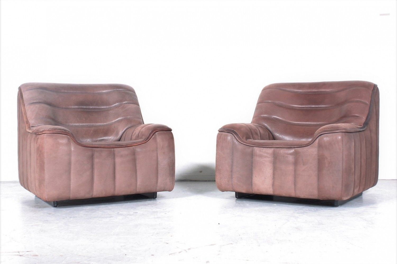 Set Of 2x De Sede Ds84 Club Chair With Soft Thick Neckleather Club Chairs Chair De Sede
