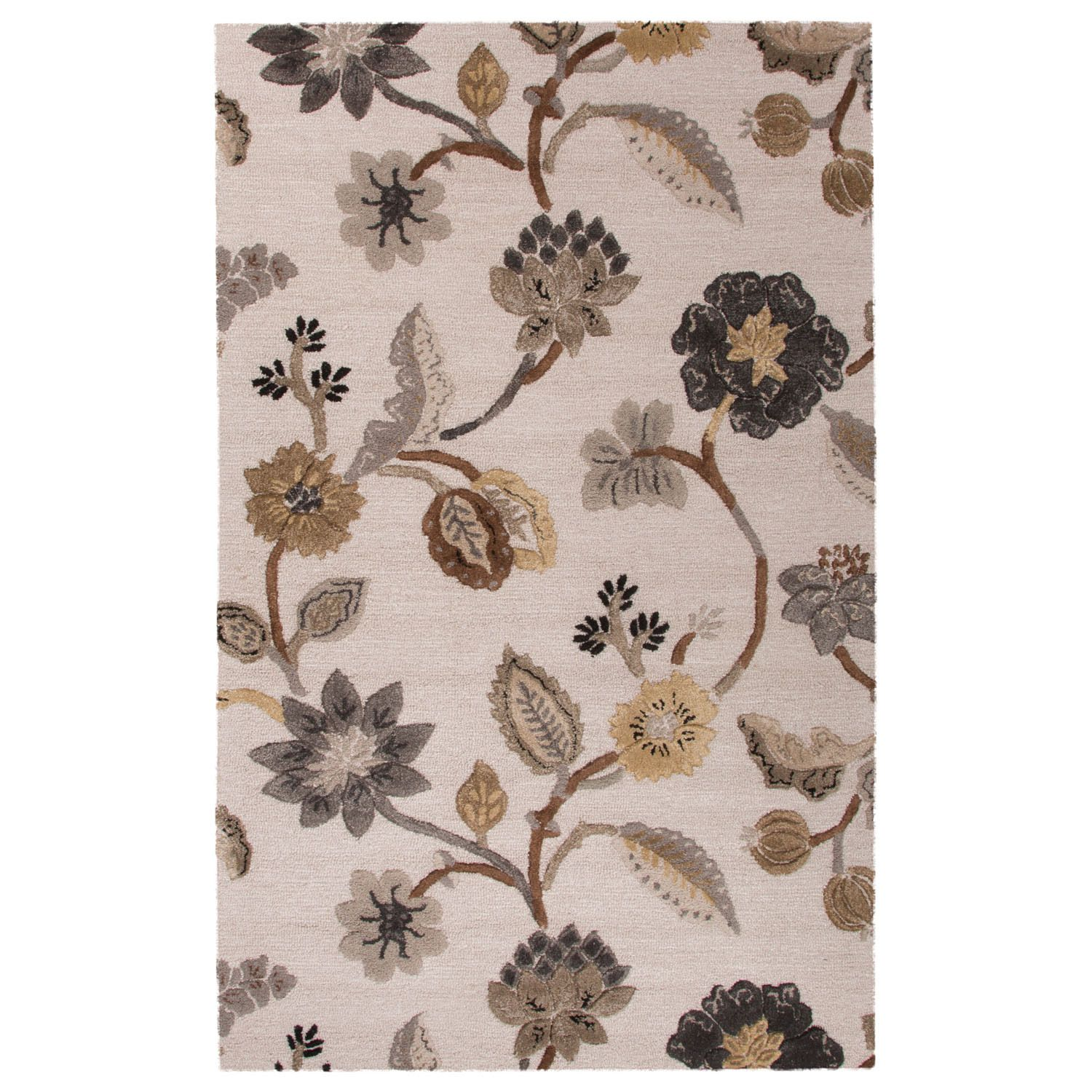 Jaipur Contemporary & Leaves Pattern Ivory/Gray Wool and Art Silk Area Rug