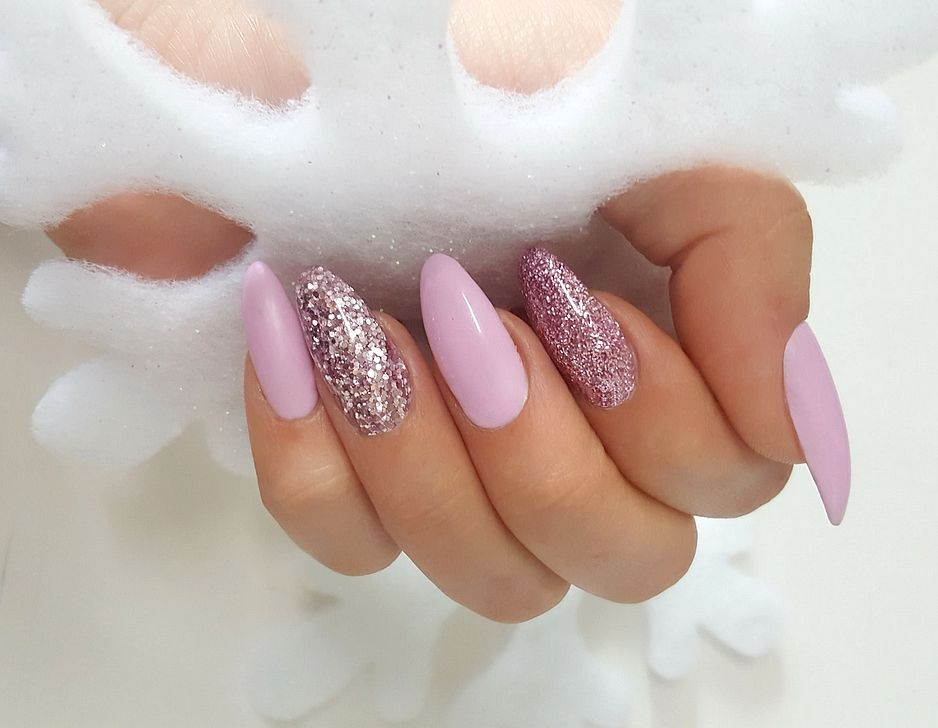 Long Almond Pink Glitter Matte Nails Colored Acrylic Nails Sns Nails Colors Nail Designs Glitter
