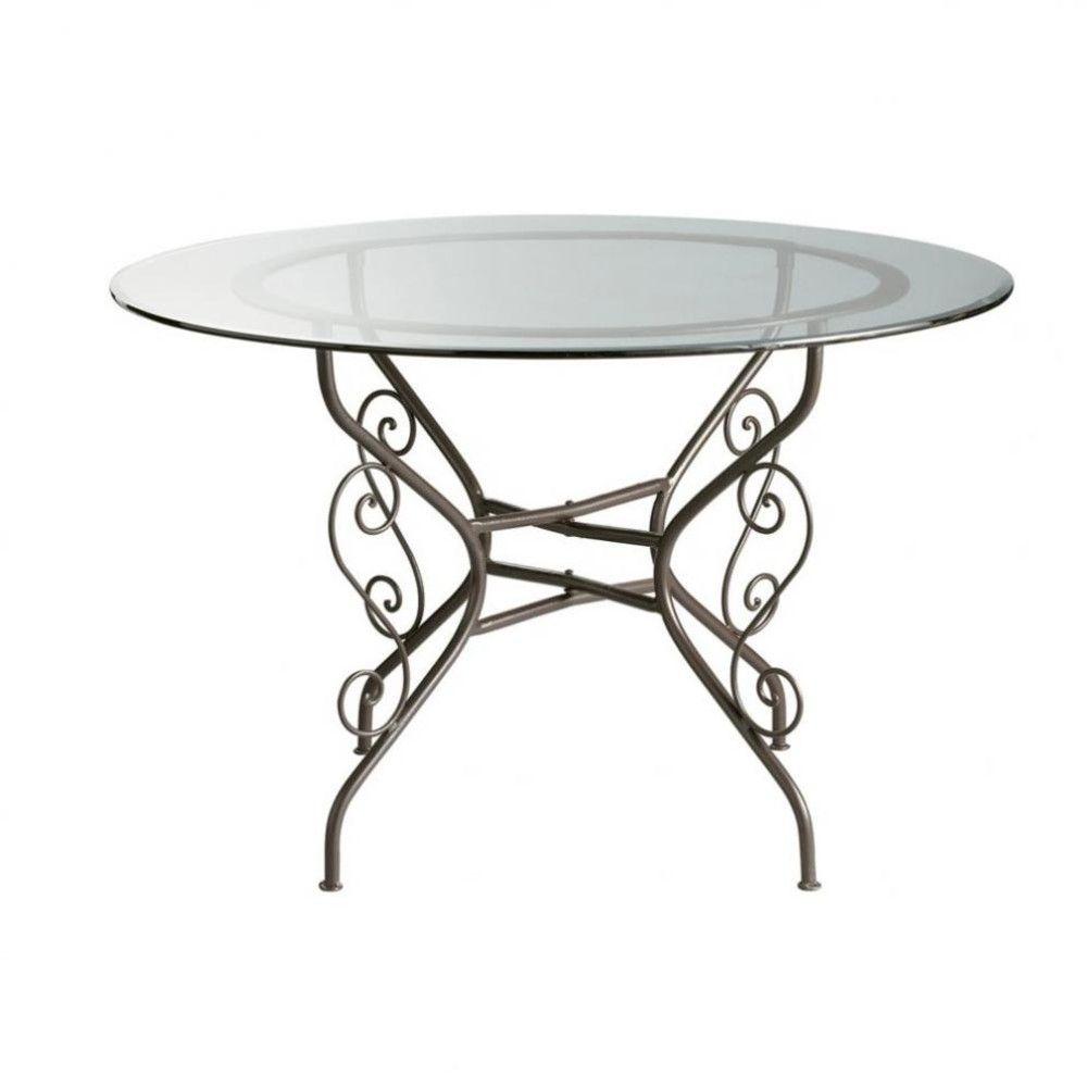 Table Ronde De Salle A Manger En Verre Et Fer Forge D 120 Cm Toscane Maisons Du Monde Ferro Forjado Pufe Mesa