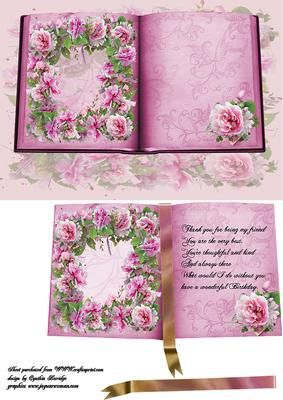 vintage rose book on Craftsuprint designed by Cynthia Berridge - a pretty book with 1 page layer and verse for a special friend - Now available for download!