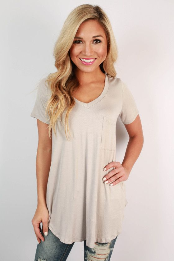 3b88cad1423 Pocket Perfect V-Neck Tunic Tee in Stone | November Necessities ...