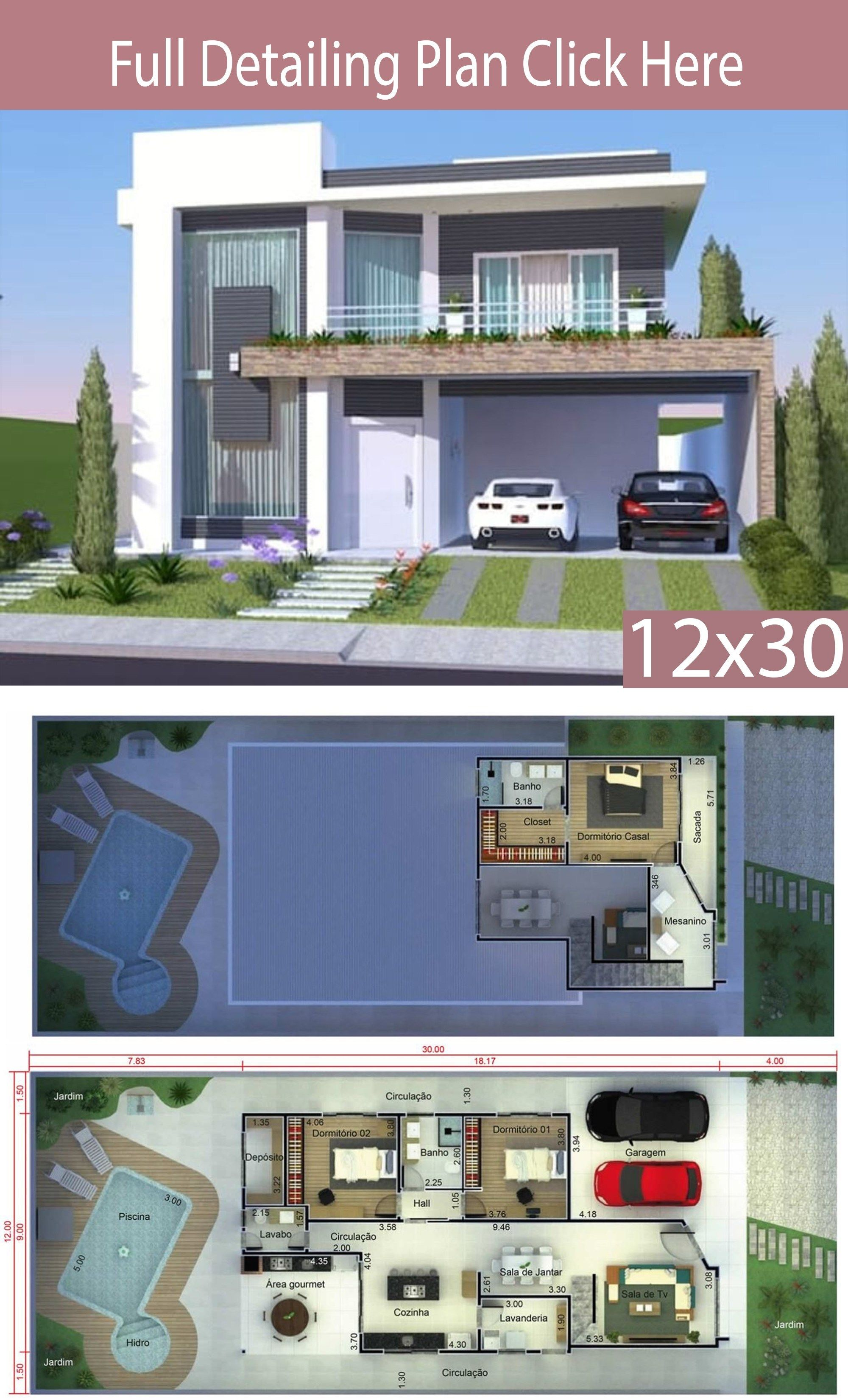 Home Design 12x30 Meters 3 Bedrooms Home Design With Plan House Design Architectural Design House Plans Architecture Model House