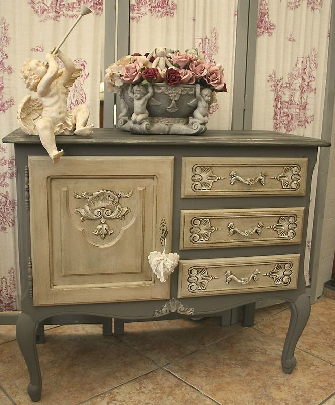 Adorable meuble en ch ne de style louis xv commode patin e architect painted furniture - Patiner un meuble en chene ...