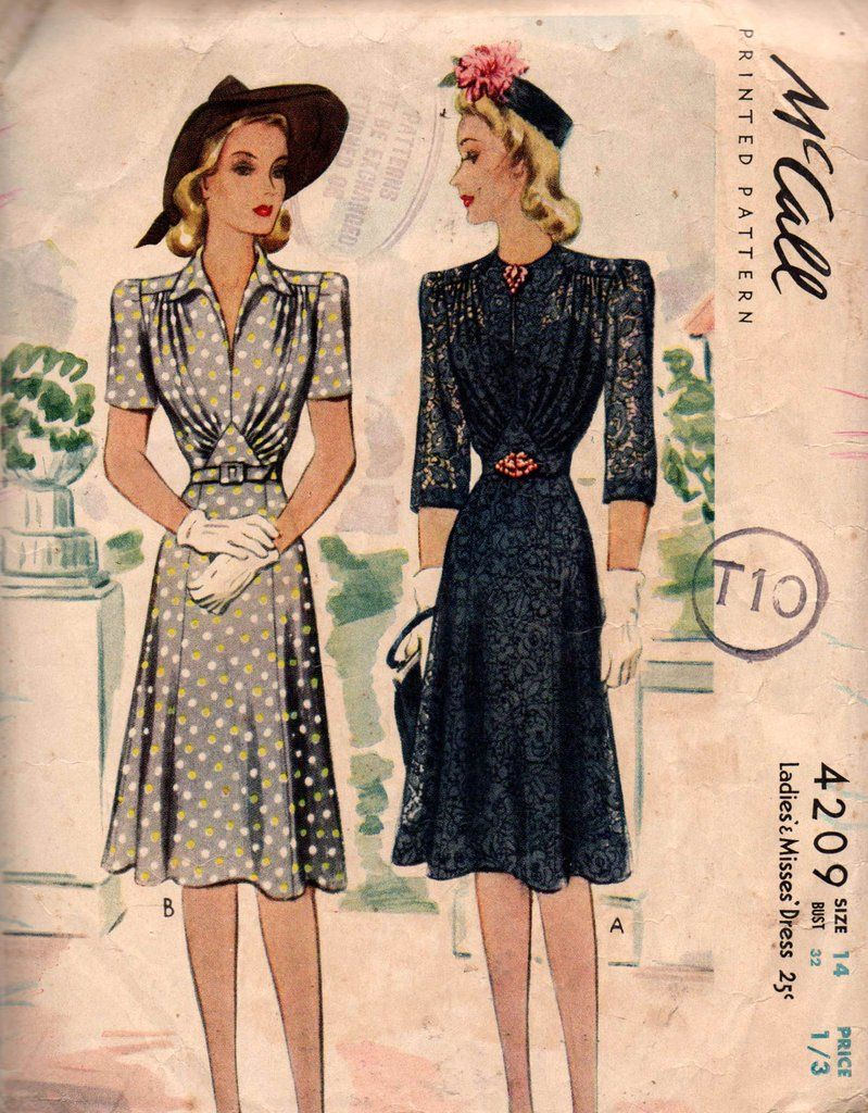 McCall 4209 RARE Womens Gathered Bodice Dress 1940s Vintage Sewing ...