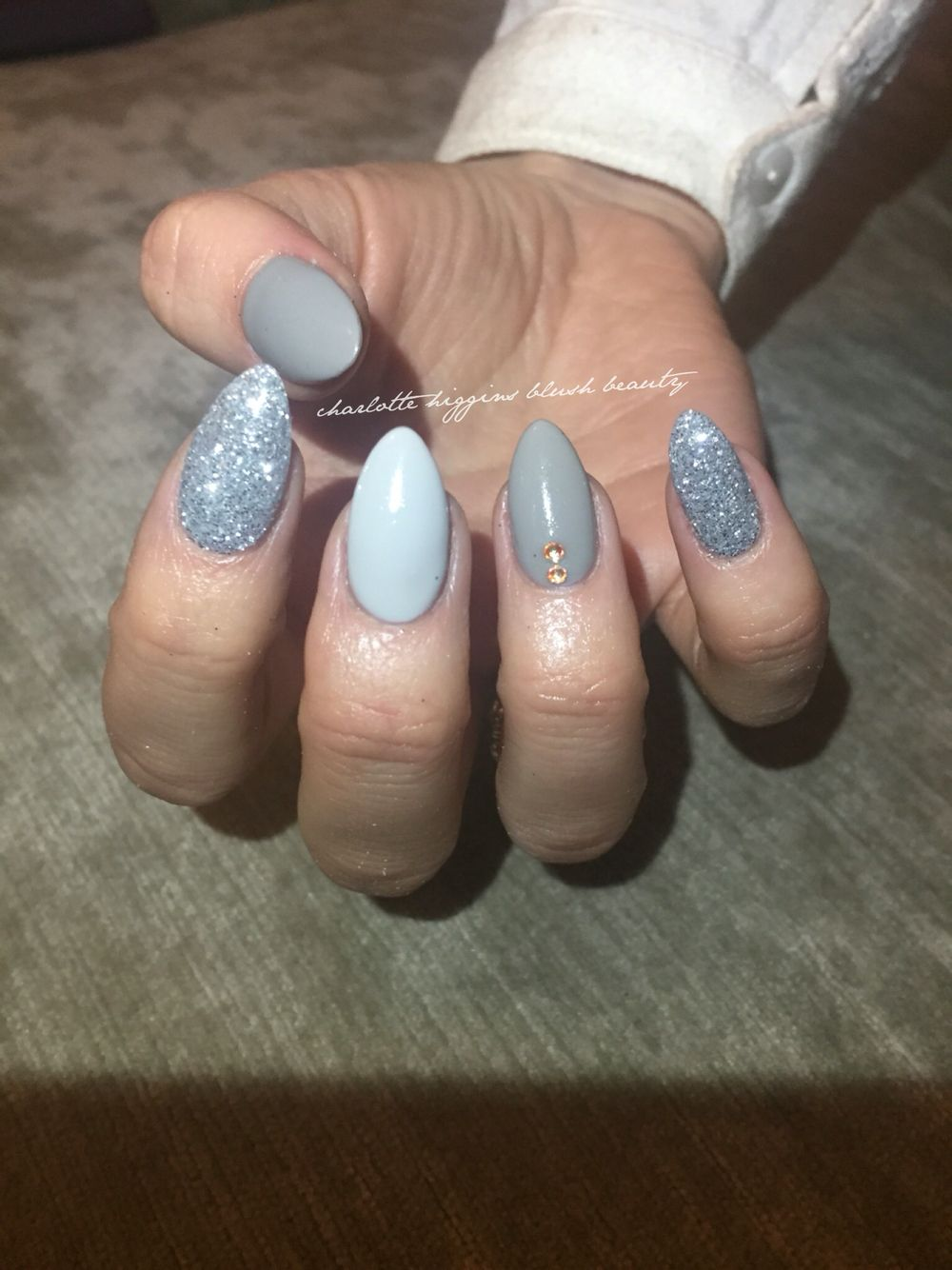 Grey ice cnd acrylic nails almond shaped, with customised mixed ...