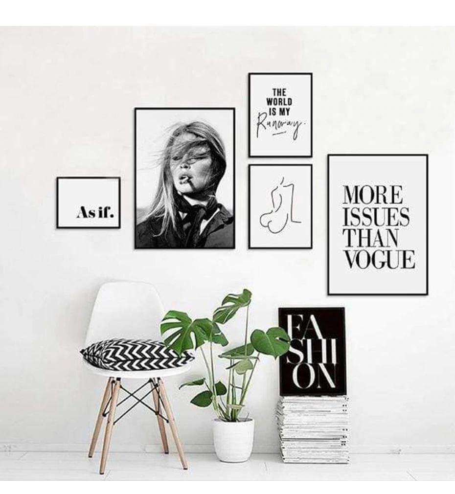 Retro Vogue Fashion Quotes Wall Art Black White Nordic Style Salon Art Nordicwallart Com Picture Wall Bedroom Fashion Wall Art Wall Art Quotes