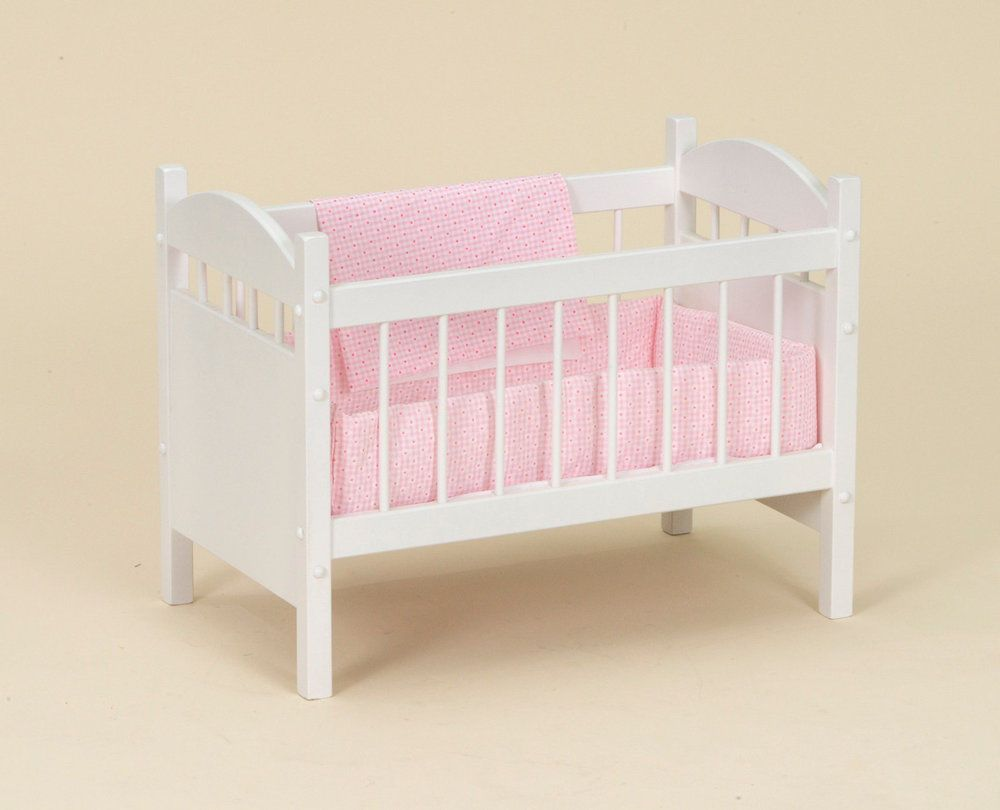 Wooden Doll Crib With Bedding Bitty Baby Reborn Bassinet