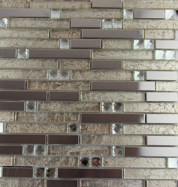 Factory Direct Sale Glass Metal Mosaic Tile Stainless Steel Deco