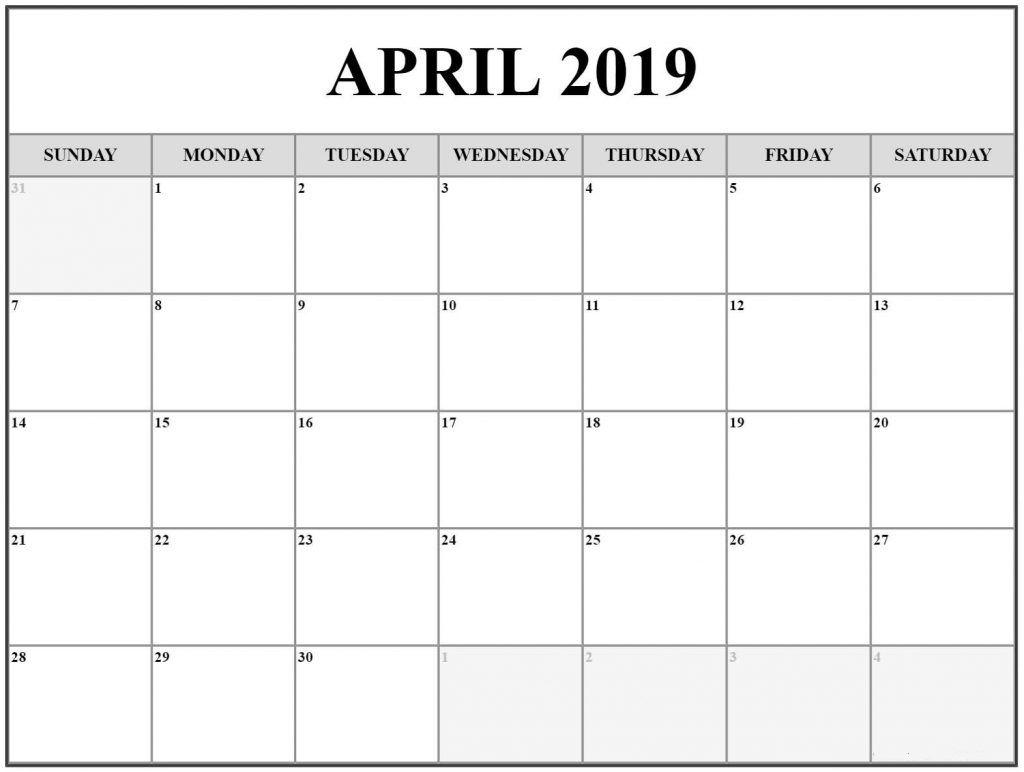 Editable April 2019 Calendar Printable Template With Holidays