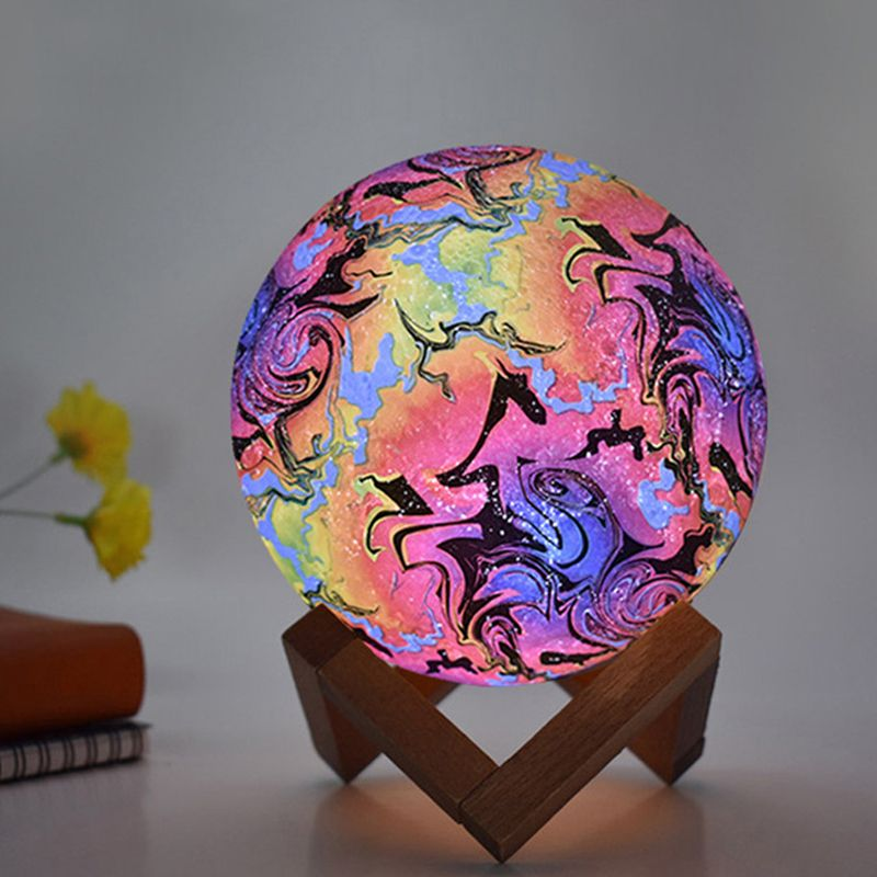 3d Printing Moon Lamp Creative Painted Led Night Light 3 7 Color In 2020 Cute Night Lights Led Night Light Night Light