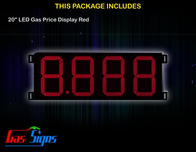 20 Inch 8.888 LED Gas Price Display Red with housing dimension H590mm x W1455mm x D55mmand format 8.888 comes with complete set of Control Box, Power Cable, Signal Cable & 2 RF Remote Controls (Free remote controls).