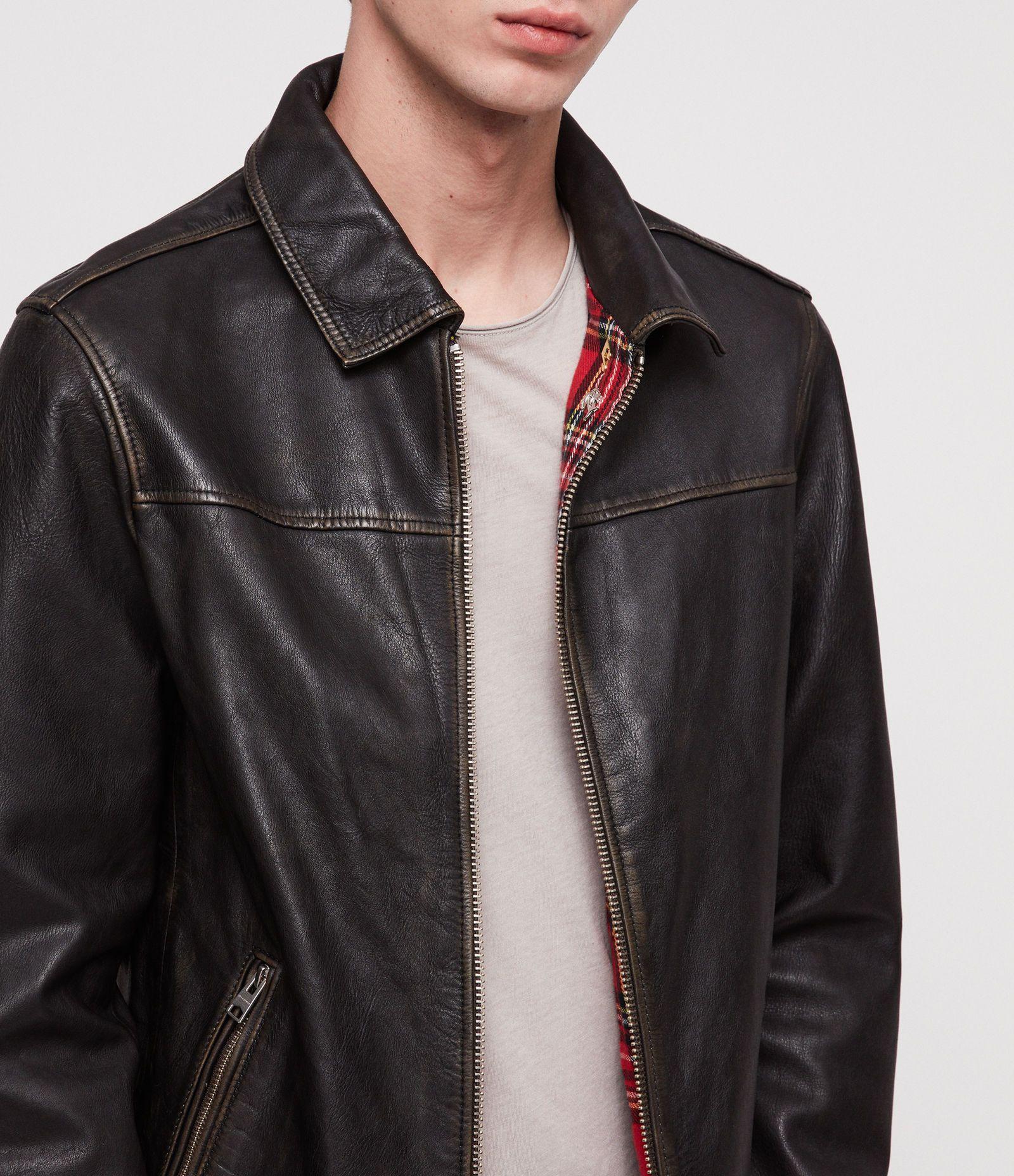 fbb1a25e3f31 ALLSAINTS UK  Mens Caleb Leather Jacket (black coal)