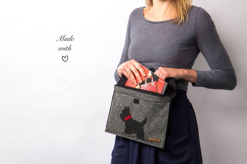 Clutches - Clutch Handtasche schwarz Stoff mit Leder - ein Designerstück von Jeta bei DaWanda