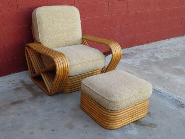 Paul Frankl 6 Strand Rattan Side Chair Arm Chair Ottoman Square Pretzel