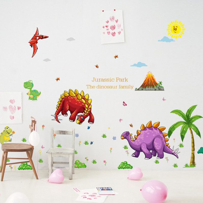 [Fundecor] Cartoon Dinosaur Paradise Children Wall Stickers For Kids Rooms  Nursery Baby Bedroom Home Decoraton Decals Animals Part 87