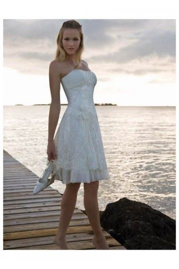 Strapless Short Wedding Gown with Flower Bow in Front - Shop Wedding Dresses at My Bridal Dress