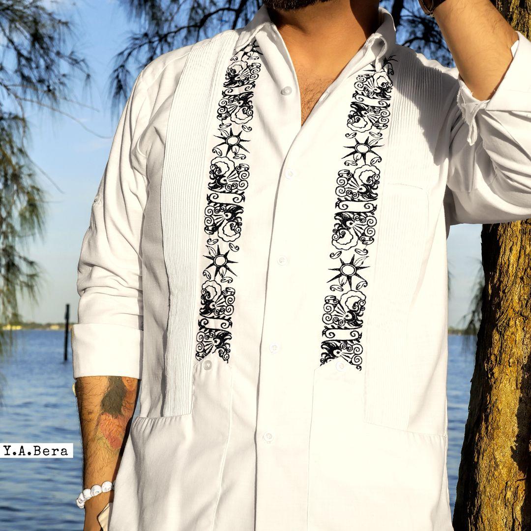 White Lux Linen /& The Peaceful Path Guayabera