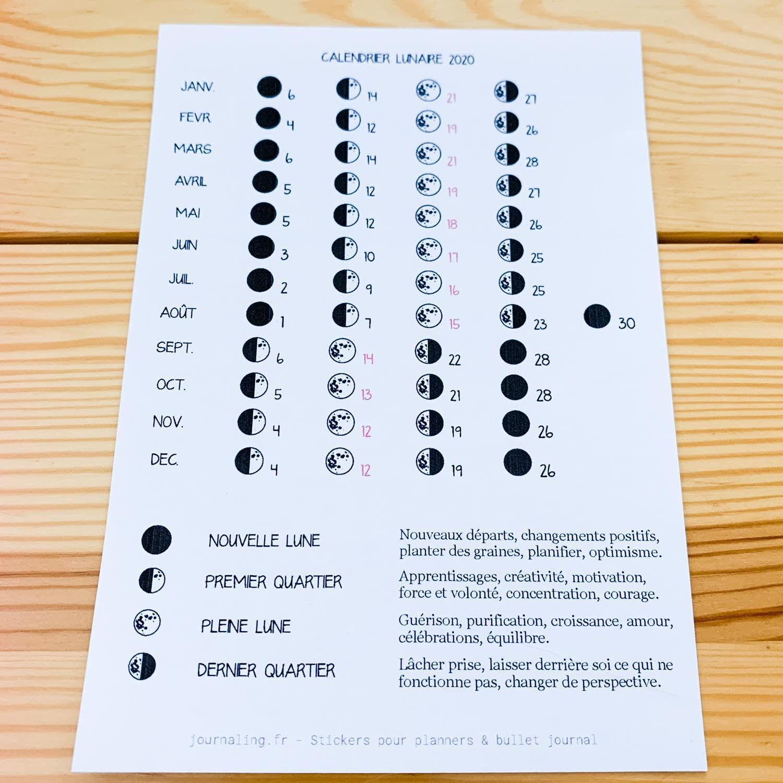 Sticker pleine page   Calendrier Lunaire en 2020 | Calendrier