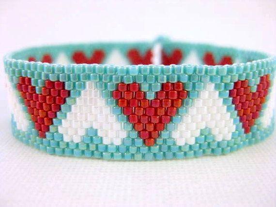 Skinny Beaded Hearts Bracelet Seed Bead Jewelry