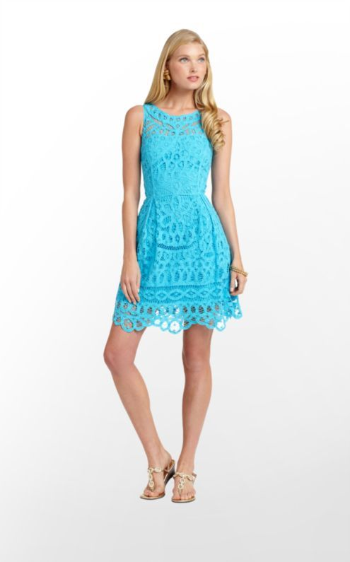 8324474d84ba Lilly Pulitzer Summer  13- Foley Dress in Turquoise Batt Your Eyes ...