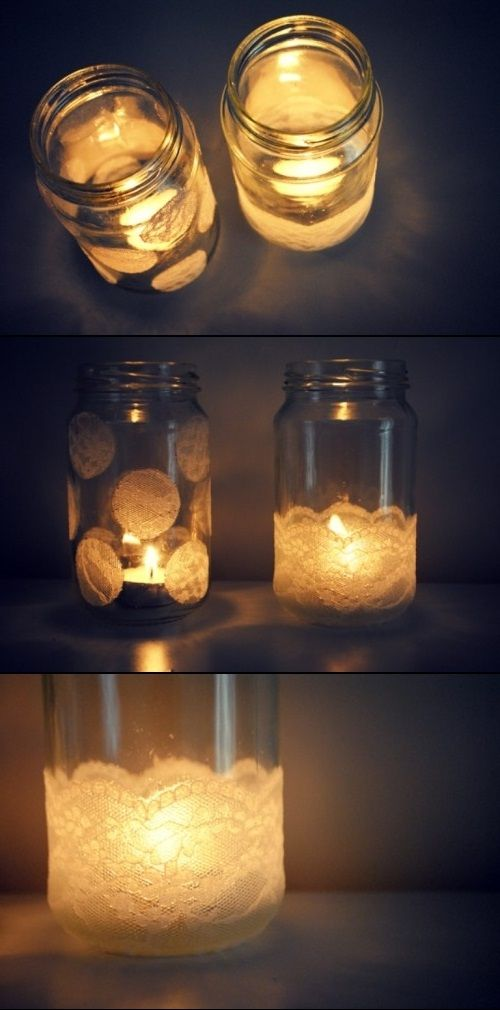 DIY Lace Jars As Vases And Candle