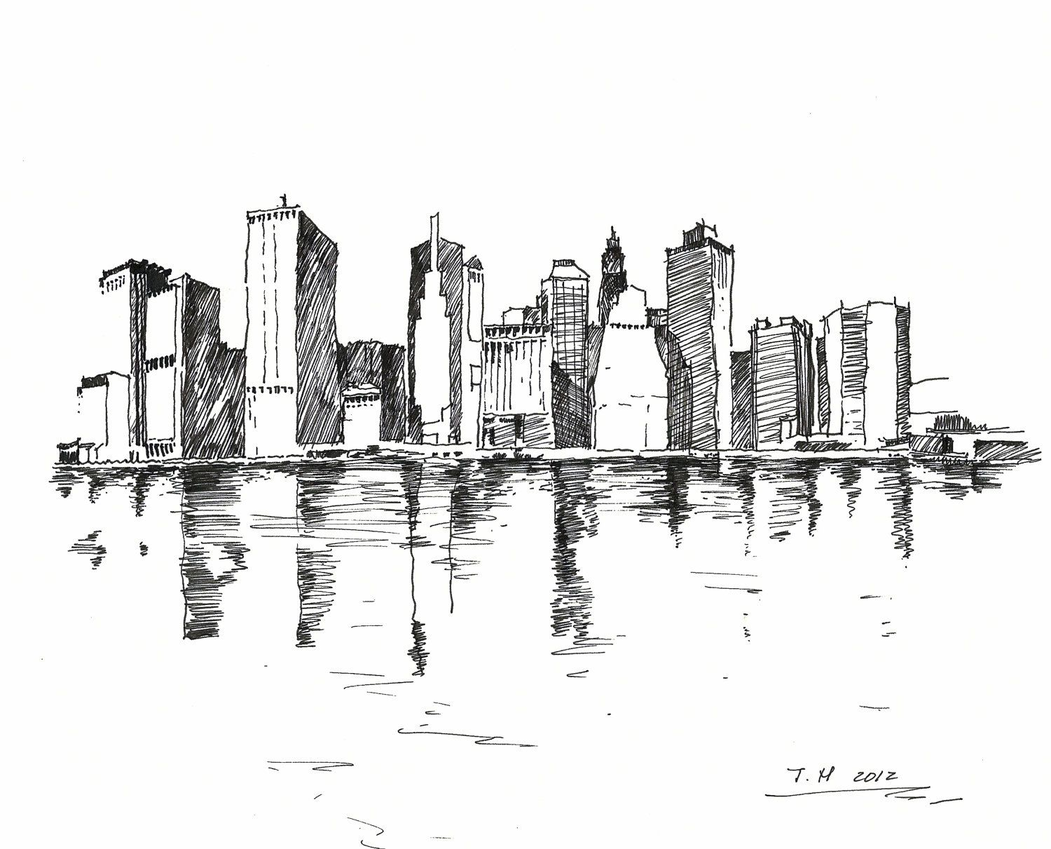 Pin By Caroline Riding On Nyc Skyline Drawing Chicago Art City Drawing