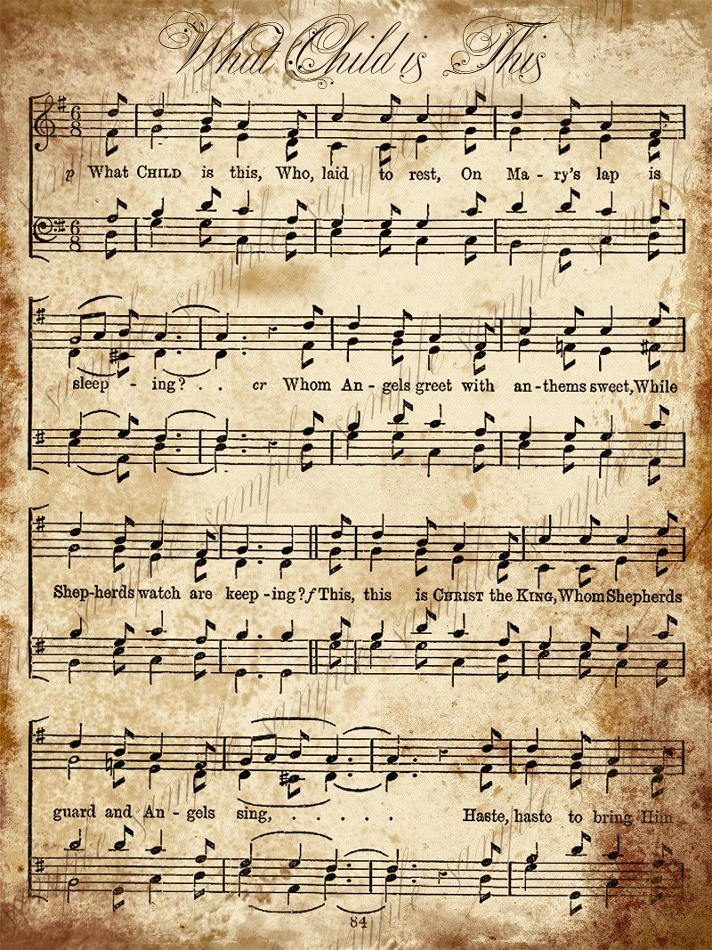 Grungy Aged Vintage Christmas Carol Music Digital Sheet INSTANT