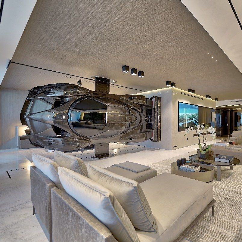 Forget Walls This Miami Home Used A 1 5 Million Race Car To Divide A Room Garage Design Miami Houses Dream Home Design