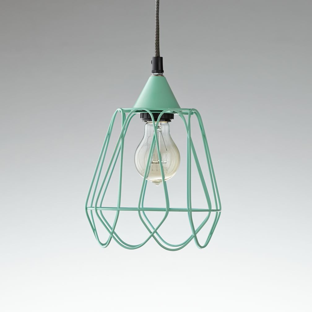 Wiry Pendant Ceiling Lamp (Green) | The Land of Nod | Girls room ...