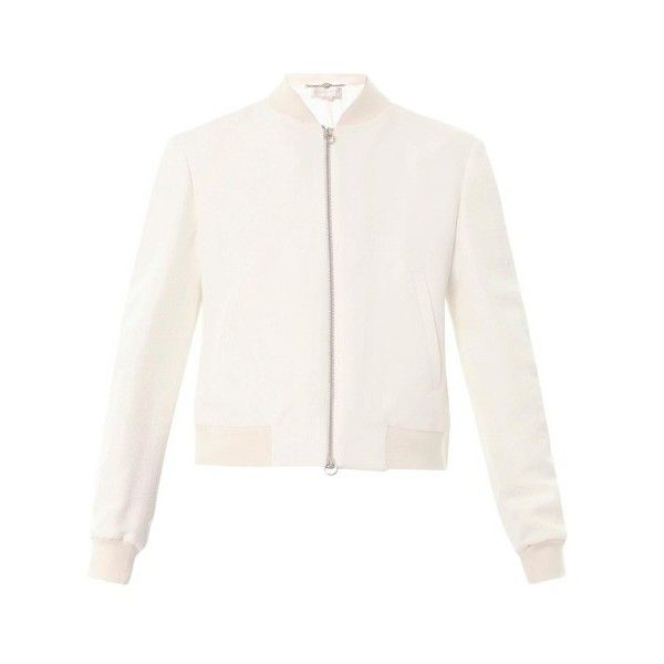 Stella McCartney Elgin snake jacquard bomber (€655) ❤ liked on Polyvore featuring outerwear, jackets, cream, cream jacket, stella mccartney, stella mccartney jacket, blouson jacket and flight jacket