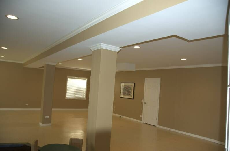Side Of Soffit Gets Wall Paint Color Finishing Basement Basement Wall Paint Colors