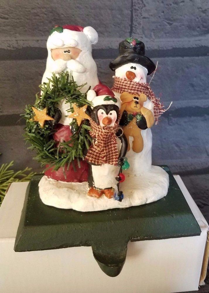 Vtg Cast Iron Resin Santa Snowman Mantle Hook Christmas Stocking