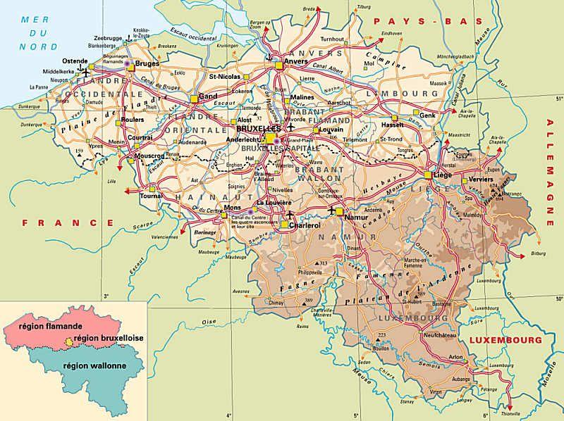 carte de la Belgique les diffrentes rgions Lehrmaterialien